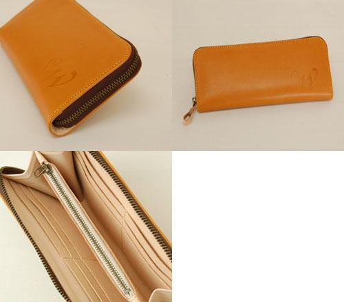 ラウンドファスナー財布オレンジ